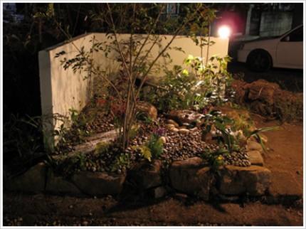 坪庭の全景(夜)